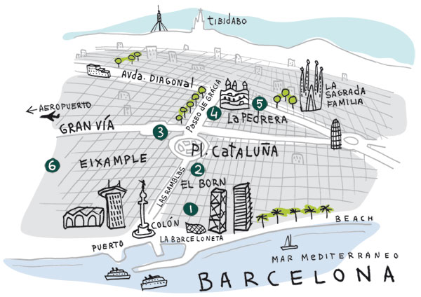 Mappa illustrata di Barcellona